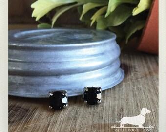 DOLLAR DEAL! Black Gem. Post Earrings -- (Ebony, Vintage-Style, Silver, Small Studs, Gemstone, Bridesmaid Jewelry, Elegant, Gift Under 5)
