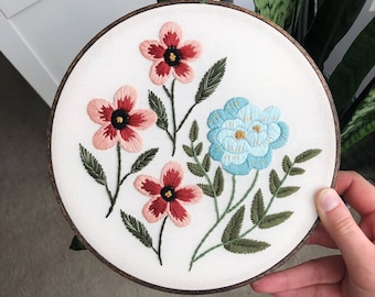 Floral Flowers Embroidery Hoop Art, Hand Embroidered Home Decor, Nature Embroidery, Botanical Art, Handmade Art