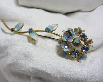 "Vintage ""Made in Austria"" GT, Blue Enamel and Blue AB Rhinestone Blue Bell Flower Brooch"