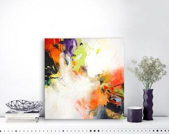 Originele abstract schilderij, abstracte kunst, unieke acryl kunstwerk, oranje paarse yellowgreen kleurrijke illustraties op gespannen doek