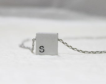 Personalized initial Square Necklace - S2304-1 (upper case, lower case)
