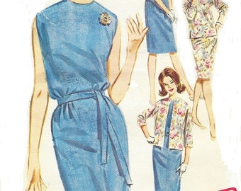 1960s Womens Sheath Dress, Jacket & Scarf Butterick Sewing Pattern 2660 Size 12 Bust 32 UnCut Vintage 60s Sewing Patterns