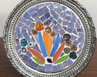 Round pewter mini mosaic
