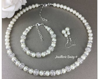 Bridesmaid Gift Ivory Pearl Necklace Bridesmaid Jewelry Set Gift for Bridesmaid  Rhinestones Necklace Maid of Honor Jewelry