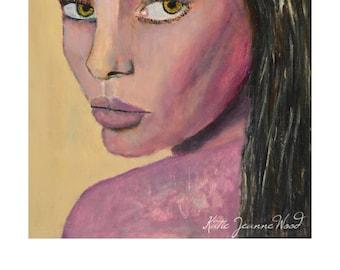 Original Framed Oil Portrait Art Painting. Handmade Frame. Super Model Girl Portrait Painting.