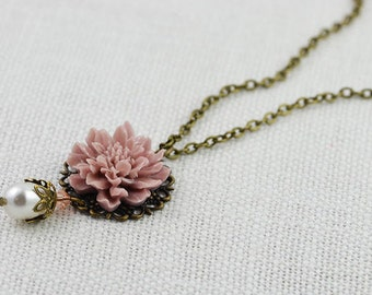 Dusty Pink Vintage Style Flower Necklace, Lotus Flower Bronze Necklace, Pearl Bridesmaids Necklace, Swarovski Pearl Pink Necklace Jewellery