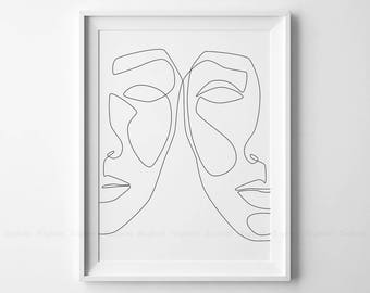 One Line Face Printable Art, Woman Faces Print, Black White Artwork, Female Drawing Poster, Original Minimalist Beauty Illustration Decor.