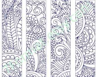 Bookmarks Coloring Printable, scaleable PDF file super quality, Instant Download. 4v.