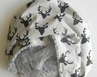 Large Minky Baby Blanket- Baby Boy Blanket- Black Stag Rustic- Black and Grey- Nursery Blanket- Size 41 x 34""