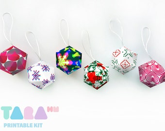 DIY Christmas Balls, Set of 6 Printable Christmas Ornament, DIY Paper Toy, Acid TaraBalls, Educational Toy, Instant Download, Tree Decor
