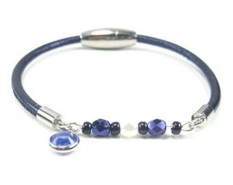 Navy Blue Beaded Leather Bracelet, Womens Beaded Jewelry, Navy Blue Leather Bracelet, Womens Leather Jewelry, Swarovski Charm, Blue Leather