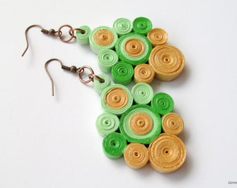 Geometric Green Dangle Quilled Paper Earrings, Statement DIY Quilled Jewelry
