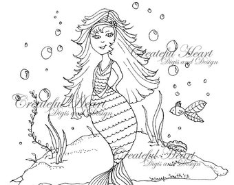 "Mermaids ""Star"" and ""Tressa"" , set of 2 digital images, stamps"