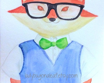 Animal Art, Fox Art, Dapper Fox, Print or Postcard of my watercolor, Animal Painting, Fox Painting, Childrens Art or Nursery Decor