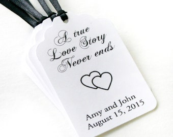 A True Love Story Never ends Wedding favor tags, Customizable, Shower Tag, Favor Label, bridal shower wish tree