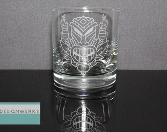 Set of 4 Hand Etched Premium Flaming Tiki Whiskey Bourbon Rocks Glasses