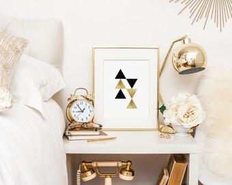 Geometric Art Print, Triangle Art, Nursery Wall Art, Modern Nursery Decor - Black and Gold Nursery Art, Gold Home Decor - Instant Download