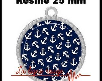 Round Cabochon pendant 25 mm epoxy - Marina (36) - sea, marine, blue, white