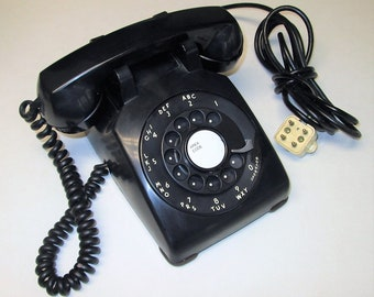 Vintage  Black Rotary Dial Desktop Telephone Dated January 1963 Bell Western Electric Model 500 C/D
