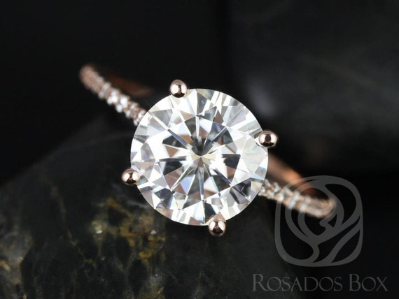Rosados Box DIAMOND FREE Eloise 9mm 14kt Rose Gold Round F1- Moissanite and White Sapphires Cathedral Engagement Ring