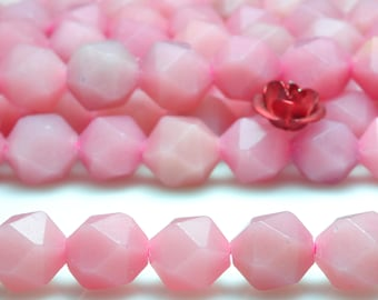 47 pcs of Pink Peruvian Opal faceted star nugget beads in 8mm