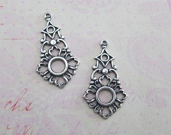 NEW 2 Silver Ornate Open Charms 3910