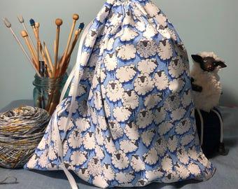 Large Sheep Print Knitting Project Bag