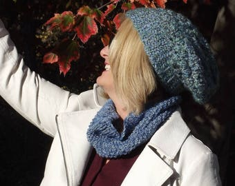 Hand-Knitted Denim Blue Cowl; Soft Blue Scarf; Blue Neck Wrap Cowl