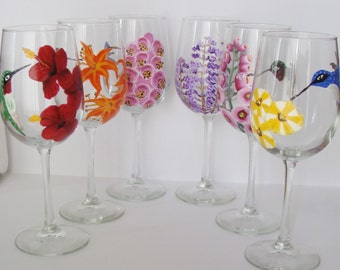 Bridesmaid Gifts, Hummingbird Wine Glasses, Wedding wine glasses personalized name date wedding party bff's Set of Six Assorted styles