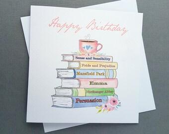Jane Austen Birthday Card - Jane Austen Greeting Card - Jane Austen Novels Stack - Book Spines - Book Lover - Persuasion - Pride & Prejudice