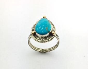 Turquoise Ring, Turquoise Mountain Ring With 14k Details, Natural Turquoise Ring, Turquoise Statement Ring