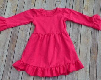 Monogrammed Ruffle Dress-Hot Pink