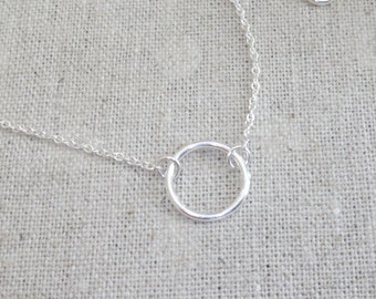 Sterling silver, Karma, Halo, Ring, Silver, Necklace, Modern, Minimal, Dainty, Jewelry, Birthday, Friendship, Best friends, Gift, Jewelry