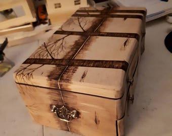 Woodburnt Muskoka scene on one of a kind jewelery box