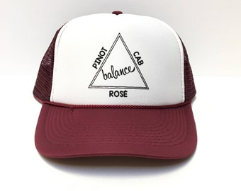 Wine Balance Trucker Hat, Wine Hat, Trucker Hats, Balance, Pinot, Cab, Rose, Wine, Wine Lovers, Wine Trucker Hat