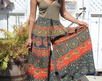 Harem pants printed hippie gypsy ethnic bohemian boho wide leg palazzos womens size S M L Small Medium large OSFA