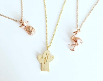 Gold or Rose Gold Cactus Necklaces