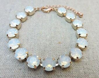 Swarovski Crystal Tennis Bracelet White Opal Chatons Rose Gold Statement Bracelet Customizable Bridal Jewelry Bridesmaids Gifts