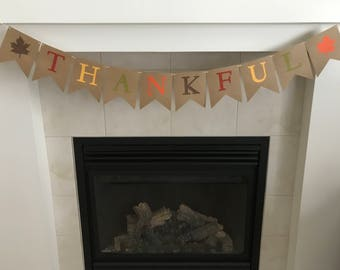 Thankful Banner, Thanksgiving Banner, Happy Thanksgiving, Fall Decor, Leaves, Fall Colors,Fall Burlap Banner, Photo Prop