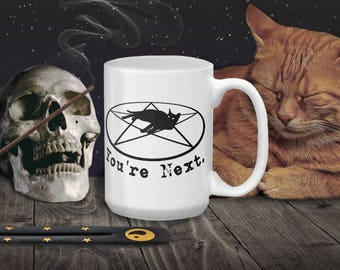Witchy Pagan Cat on Pentagram You're Next Funny Evil Coffee Mug