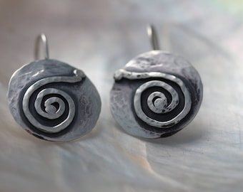 Hammered Hand Made.925 Sterling Silver Spiral Sun Symbol Dangle Earrings