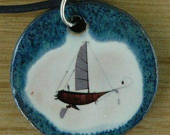 Orginal handicraft: pendant with an airship; zeppelin vintage old jewellery charm gift amulet round