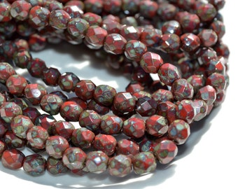 Red Picasso Faceted 6mm Fire Polish Round Beads  25