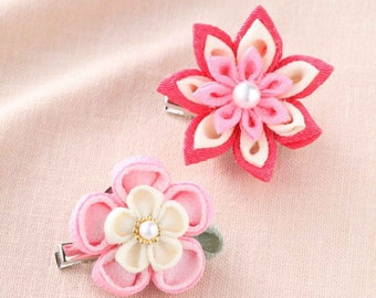Tsumami Flower Accessory Kit  - 2 Brooches PINK - Traditional Japanese Craft