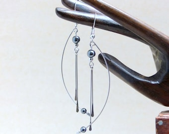 Contemporary modern geometric earrings, hematite and stainless steel (BO26)
