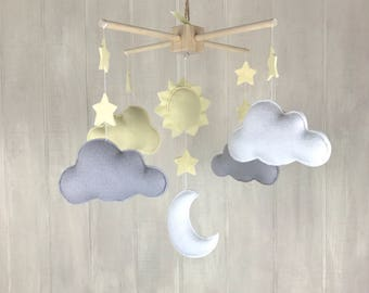 Cloud mobile - sunshine mobile - baby mobile - baby crib mobile - moon mobile - star mobile - baby mobiles - nursery mobile