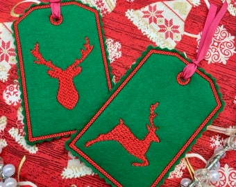 Stag ITH Gift Tag Machine Embroidery Design / Stag In The Hoop luggage Embroidery pattern, 4x4 hoop, by Pixie Willow Patterns