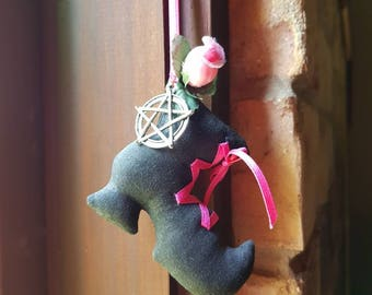 Romantic WITCHES shoe dangle with silver pentacle and rose-romantic witch boot-magical decorating-pagan wicca witchy tree ornament-keepsake.