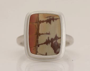 Choose a Stone for a custom ring in Picasso jasper and sterling silver, find your stone and ring size, #832.