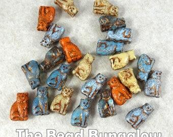 Cat Beads, Czech Glass Beads, 15mmx10mm Cat Beads, Choose Colors in packs of 4 - Blue, Orange, Beige and Aqua (CAT/RJ-3293)